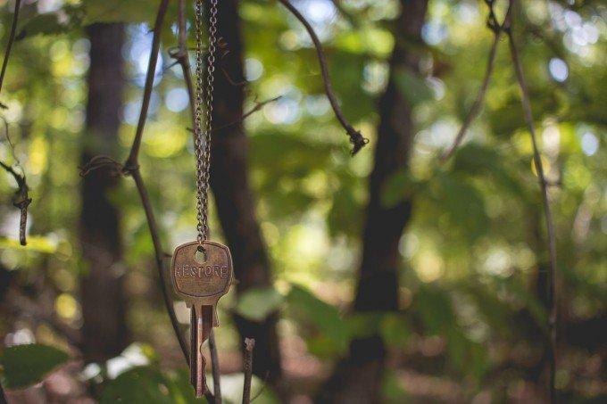 木に吊り下げられた鍵